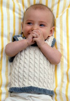 Cabled Baby Vest - the purl bee. Lots of tutorial pictures to help with this one. Nice to find a boy pattern too.
