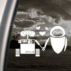 DISNEY Decal WALL E EVE ROBOT LOVE Window Sticker