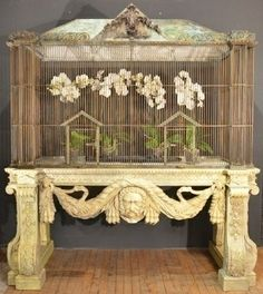 Baroque Bird Cage with a  painted Mahogany Stand