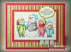 Art Impressions Rubber Stamps: Tiny Tots! Caroling Tots (Sku#T3607) Handmade winter Christmas card.