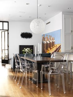 ghost chair dining room, by sara story - ghost chairs with black/dark dining table