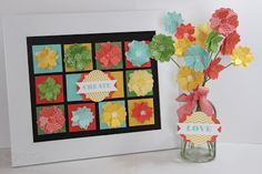 Jill's Card Creations: Stampin Up Flower Shop frame & vase of flowers