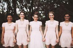 Stylish pink bridesmaids dresses