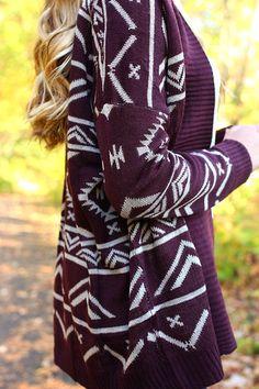 Plum Passion Cardi fashion, purple, sweater weather, outfit, fall sweaters, closet, aztec cardigan, tribal prints, plum