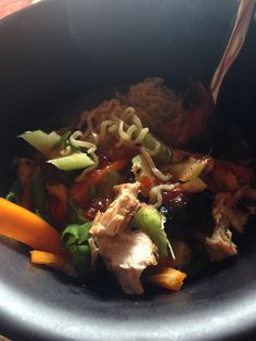 Healthy: Udon noodles, chicken broth, small red pepper, celery, cilantro, roasted chicken breast, sweet chili sauce, ginger, garlic.  Calories: 375