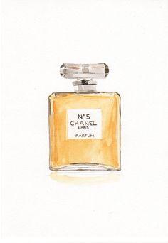 Chanel No.5 Parfum Grand Extrait Fragrance  Watercolor by MilkFoam