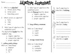 Free!  Adjectives Assessment...and writing activity!