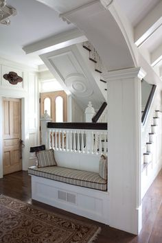 Gorgeous landing detail.  Ceilings, rails, trim and everything else are spectacular.