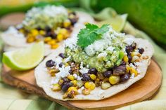 Caramelized corn and black bean tacos with roast zucchini salsa and poblano crema || Closet Cooking