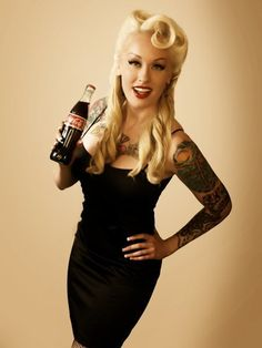 yes m'am i totally would do this if i had the balls. victory rolls, coca cola, vintage hairstyles, big curls, long hairstyles, coke, tattoos, cocacola, pinup