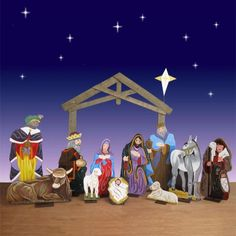 """Life Size Wood 2D Nativity Set - 12 Pc 94""""H This wood Nativity set features hand crafted life size figures. Shepherd with Lamb is NEW for 2011 $1,999.00 http://www.christmasnightinc.com/c49/c298/Life-Size-Wood-2D-Nativity-Set-12-Pc-94H-p735.html#"""