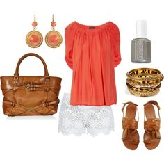 summer coral and brown.  love these shorts.
