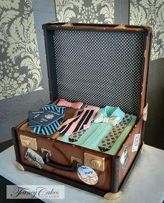 Vintage Luggage Groom's Cake |  Fancy Cakes by Lauren