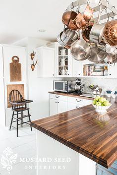 Pot rack, vintage high chair, walnut counters