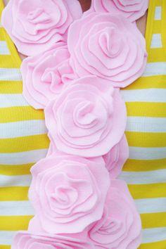 Pink Handmade Flower Fleece Scarf
