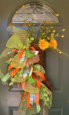 Summertime daisy and basket deco mesh wreath by WreathExplosions, $90.00