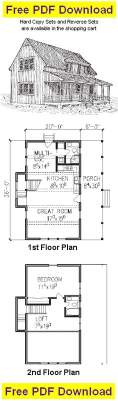 Free Cabin Plan and Blueprint - Pole Cabin Plans - C104