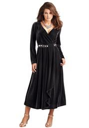 Plus Size Empire Waist Velour Dress image
