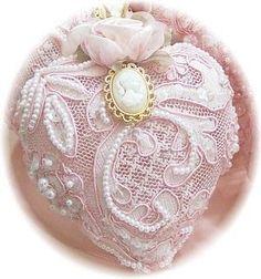 Romantic Victorian Christmas Ornaments  Set of 4-Victorian, Ornaments, Christmas, Pink, Beaded, Lace, Cameo, Glass, Ornate, Vintage, Antique