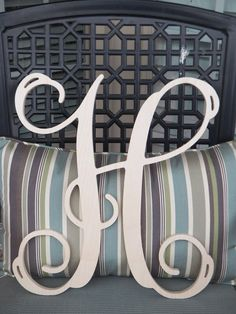 18 Inch Beautiful Wooden Single Initial Letter Wall Monogram. $21.95, via Etsy.
