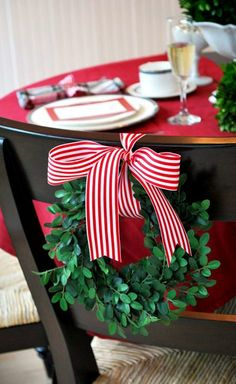#Christmas chair swag bayberry wreath place settings ToniK Տ℮ʈ ìʈ Up #DIY crafts #table decoration ideas thepartydress.net