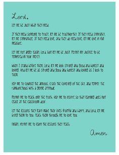 A Teacher's Prayer... love the last line