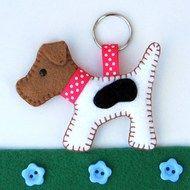 Hattifer's hand sewn gifts - Folksy dog keyring, hand sewn, dogs, felt key, gifts, felt craft, felt dog, terrier key, key rings