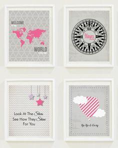 Nursery Prints: Around The World - Travel Nursery | Pink Nursery | Girls Bedroom | Quotes | Hot Air Balloon - Now on Luulla!