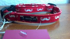 Red with White Mustaches Pet Collar