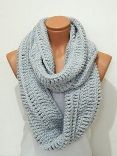 Knitted Soft Grey infinity Scarf Block Infinity Scarf. Loop Scarf, Circle Scarf, Neck Warmer. Gray Crochet Infinity on Wanelo