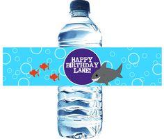 Pool Birthday Party Water Bottle Label Printable DIY