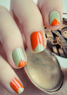 Orange & Mint Nails