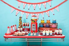 candyland birthday party ideas- retro gumball soda shoppe table. Look at the gumball machine cake! #candyland #birthday #party #ideas #retro #soda #shoppe #cake
