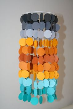 Orange, Turquoise, and Gray Ombre Paper Crib Mobile on Etsy, $38.00