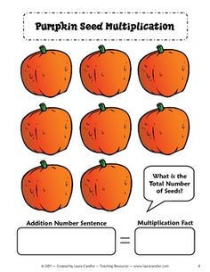 Pumpkin Seed Multiplication activity for introducing multiplication concepts #Halloween #math #freebie