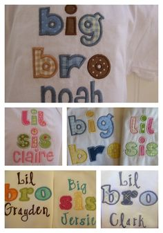 Personalized Sibling Brother Sister Matching Set of shirts, little brother, little sister, big brother, big sister, sibling shirts. $39.00, via Etsy.