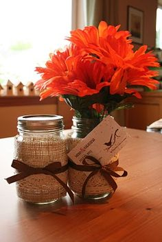 Burlap Covered Mason Jars as a vase This is how I want the mason jars for my wedding!!!!