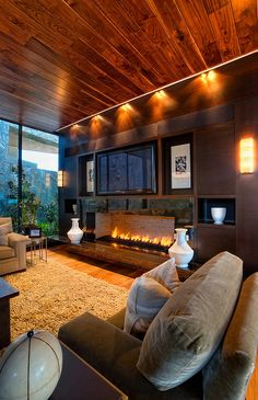 Beautiful lighting and fireplace
