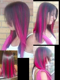 Peekaboo Highlights. Obviously I wouldn't get bright pink, and probably not so color blocked looking, but it gets the idea across