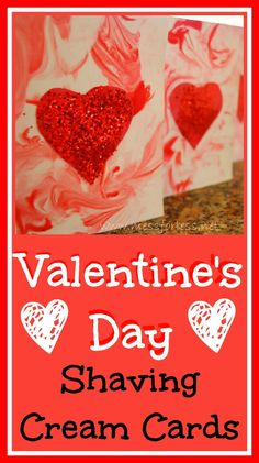 Make Cards for Valentine's Day Using Shaving Cream, #Valentines, #kids