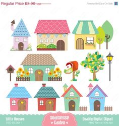 Little Houses Digital Clipart