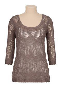 open stitch, sleev chevron, stitch sweater, 34 sleev