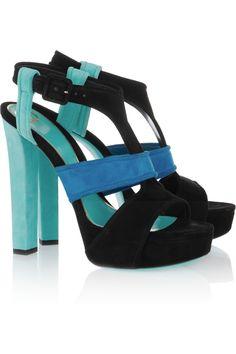 Gucci|Tri-color suede platform sandals