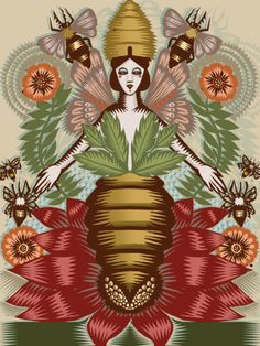 'Austeja' (Lithuanian bee goddess) by illustrator Q. Cassetti.