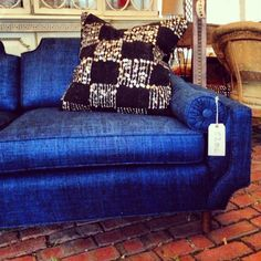 The lines of this reupholstered, cobalt vintage sofa are truly stunning. And the pillow is from a vintage wedding blanket. #jaysonflea