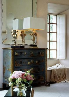hand painted chest & amazing mirror