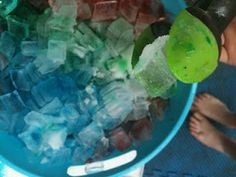 Orange extract, sea salt, ice, food coloring, = cool scented ice fun!