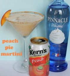 Peach Pie Martini: 3 oz. peach juice - 2 oz. whipped cream vodka - 1 oz. peach schnapps - splash or two of cream - garnish with a sprinkle of nutmeg (optional)