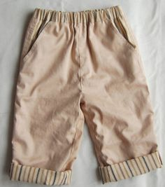 Sewing projects for boys are hard to find, but look no further. Make your little guy these adorable Boys Pants with Striped Cuffs and he'll never want to wear anything else. These trendy, comfy pants have a striped waistband, striped cuffs, and striped pockets that give just a hint of preppy flair to otherwise neutral pants.