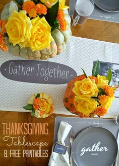 Thanksgiving Tablescape and FREE Thanksgiving Printables!! -- Tatertots and Jello #DIY #Thanksgiving #FreePrintables